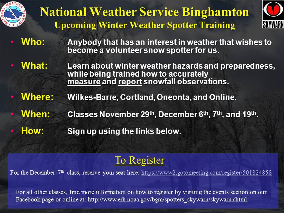 Free NOAA Snow Spotter Classes
