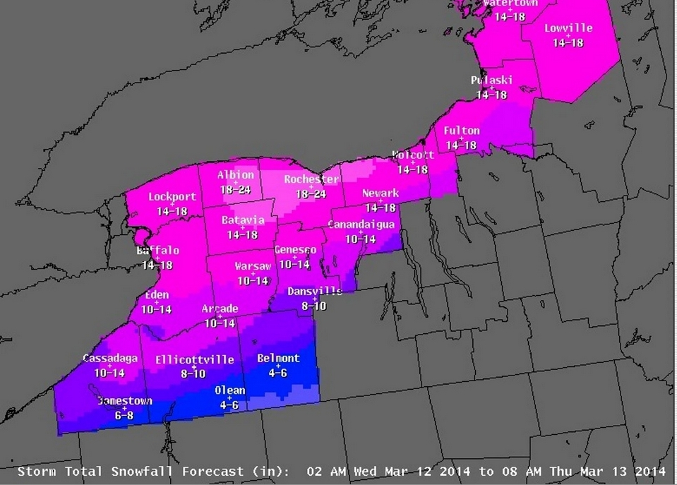 Buffalo and Rochester Expected Snowfall - NOAA