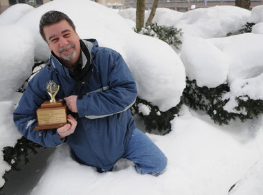 Picture of Golden Snowball Trophy in Snow